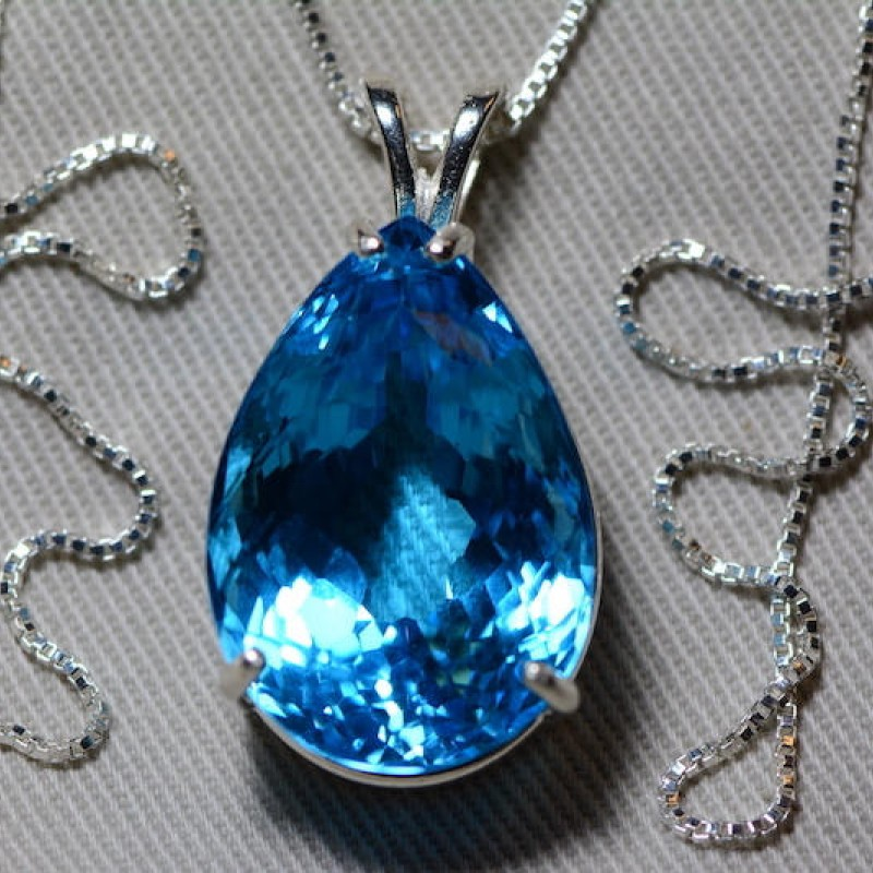 Topaz Jewelry Handmade Pear Shaped Blue Stone Pendant Mother/'s Day Gift Gift For Her Anniversary Gift Swizz Blue Topaz Silver Pendant