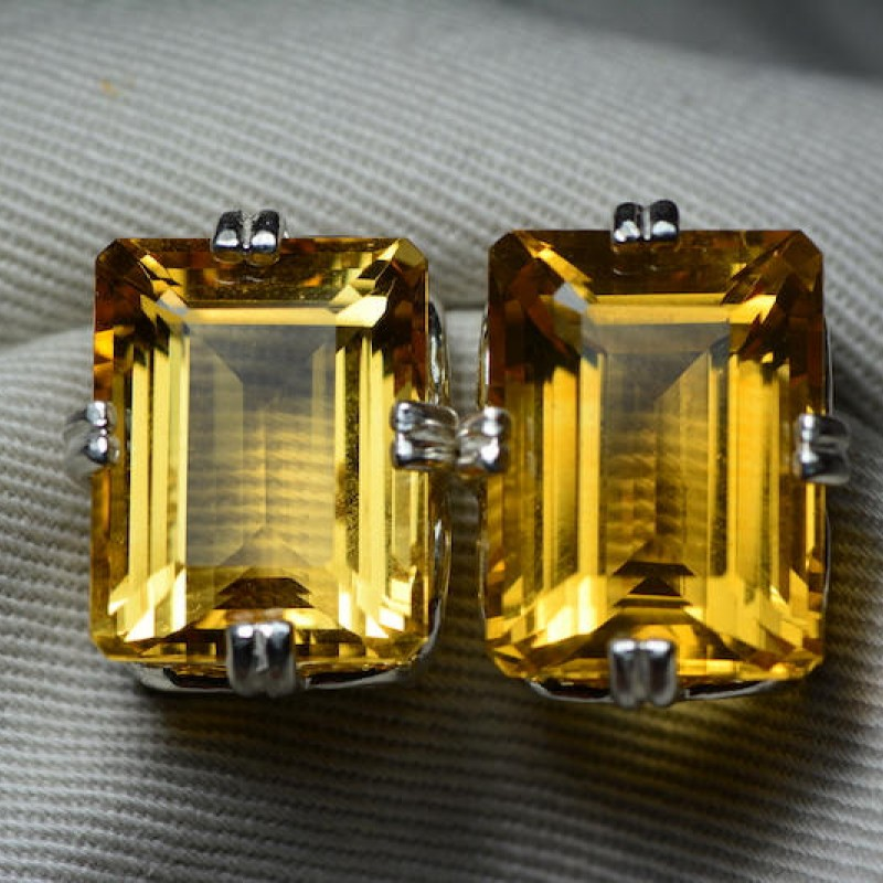 925 Solid Sterling Silver Natural Cut Yellow Citrine Stud Earring W06543 I763
