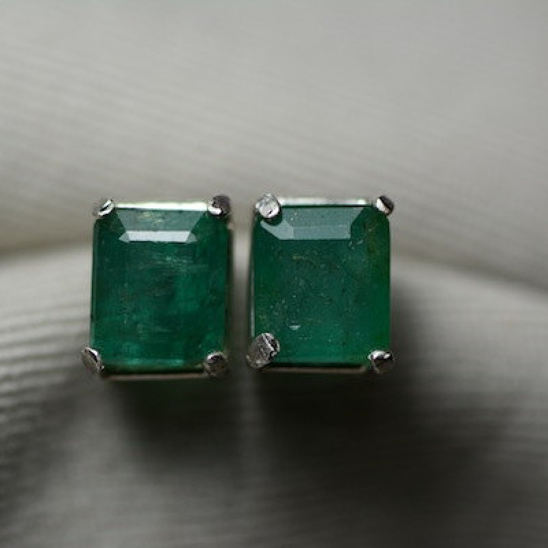 Carat Genuine Emerald Stud Earrings