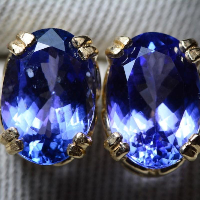 Handmade Natural Tanzanite Gemstone Solitaire Earring Personalized Gift