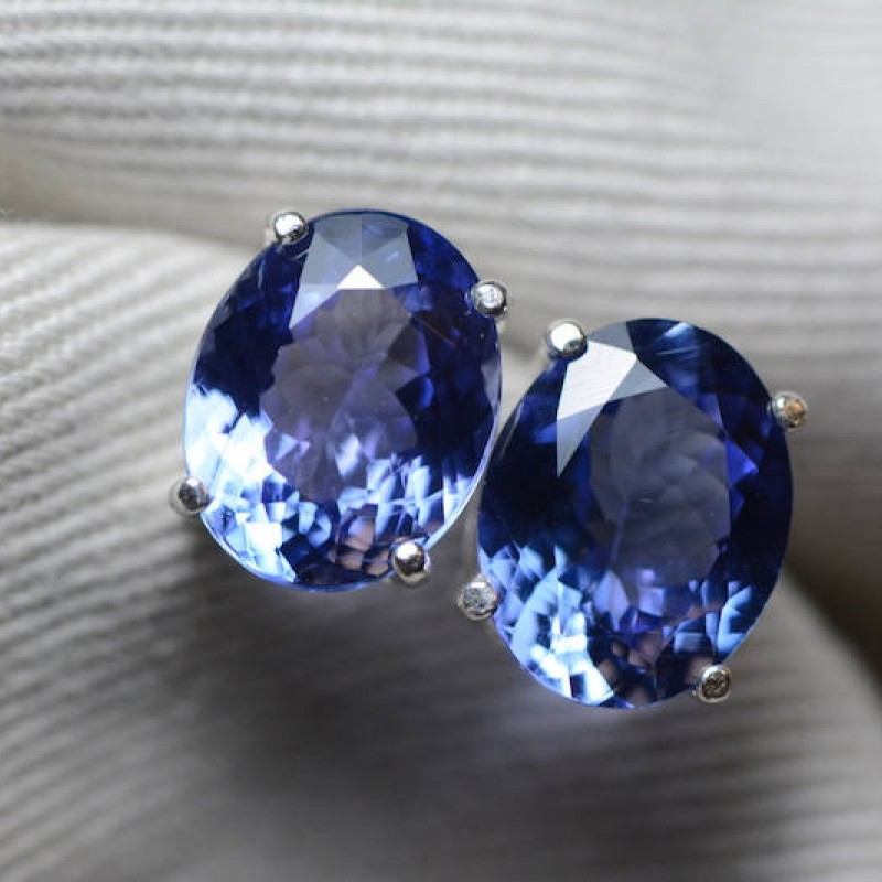 Tanzanite Earrings 5 64 Carat Stud Oval Cut Sterling Silver Igi Certified Anniversary Birthday Christmas Present