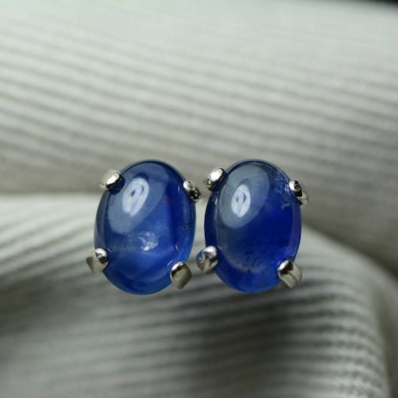 sapphire earrings blue sapphire cabochon stud earrings 1. Black Bedroom Furniture Sets. Home Design Ideas