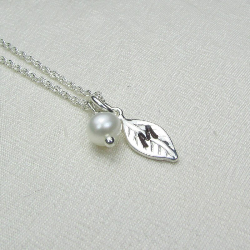 14102af6d60c4 Dainty Initial Necklace Sterling Silver Leaf Necklace Personalized ...