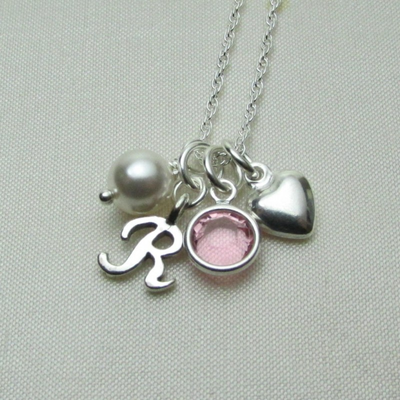 Initial Jewelry Sterling Silver Initial Necklace Birthstone
