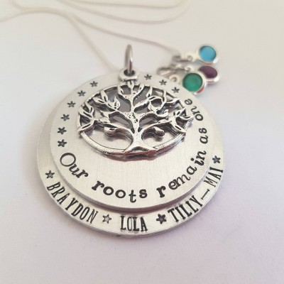 Hand Stamped Mothers Necklace With Childrens Names Grandma From Grandchildren Birthday Gift Idea For Aunt