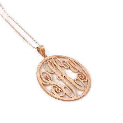 Handmade personalised round monogram necklace 18k rose gold plated handmade personalised round monogram necklace 18k rose gold plated 925 sterling silver name necklace initial necklace mozeypictures Gallery
