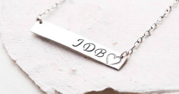 Handstamped Jewelry Necklace Personalised With Initials Letters
