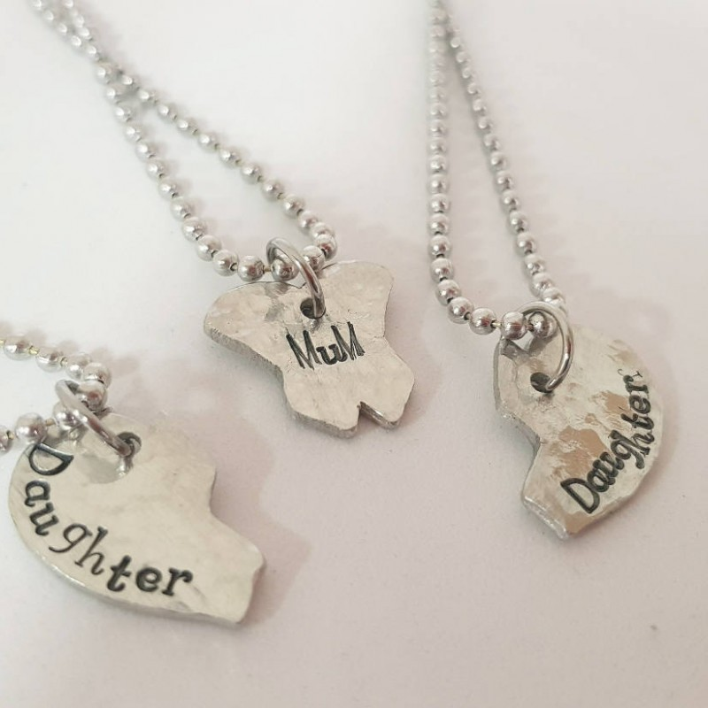Handstamped Mum Gift Daughter Matching 2 Daughters Necklace Set Custom Family For Birthday