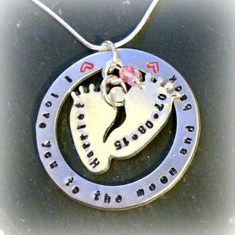 d63a63b49e Love You To The Moon And Back - Personalised Baby Feet Children's Names Hand  Stamped Necklace - Mothers Day Gift
