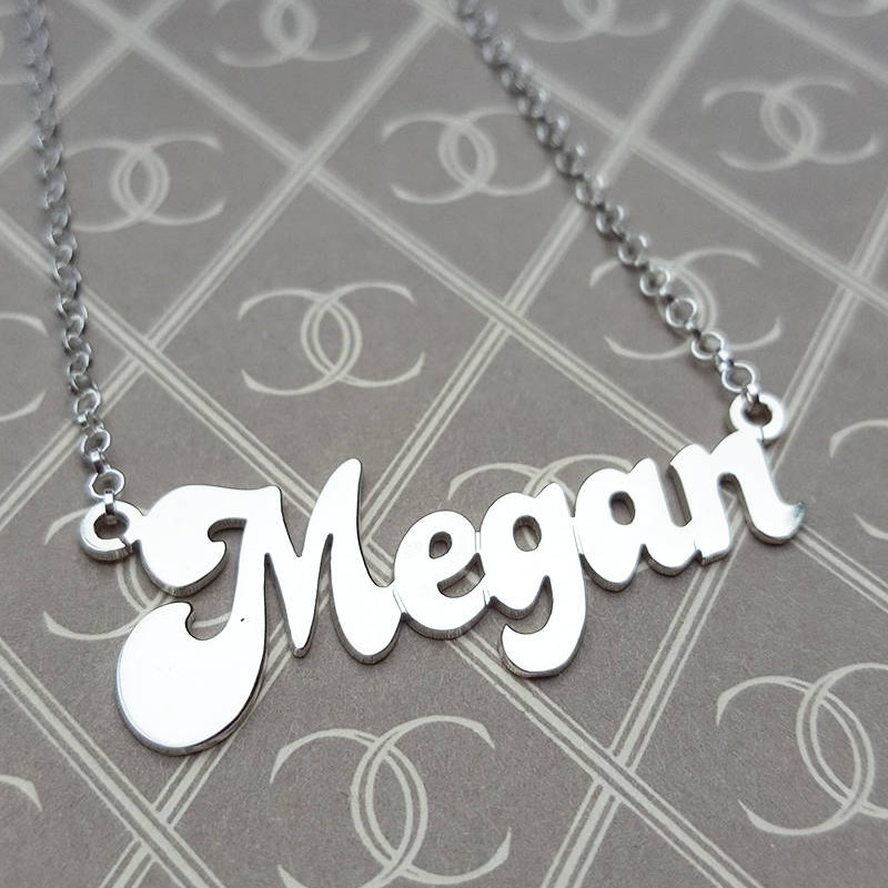 STERLING SILVER PERSONALISED YOUR NAME PLATE PENDANT ON BELCHER CHAIN NECKLACE