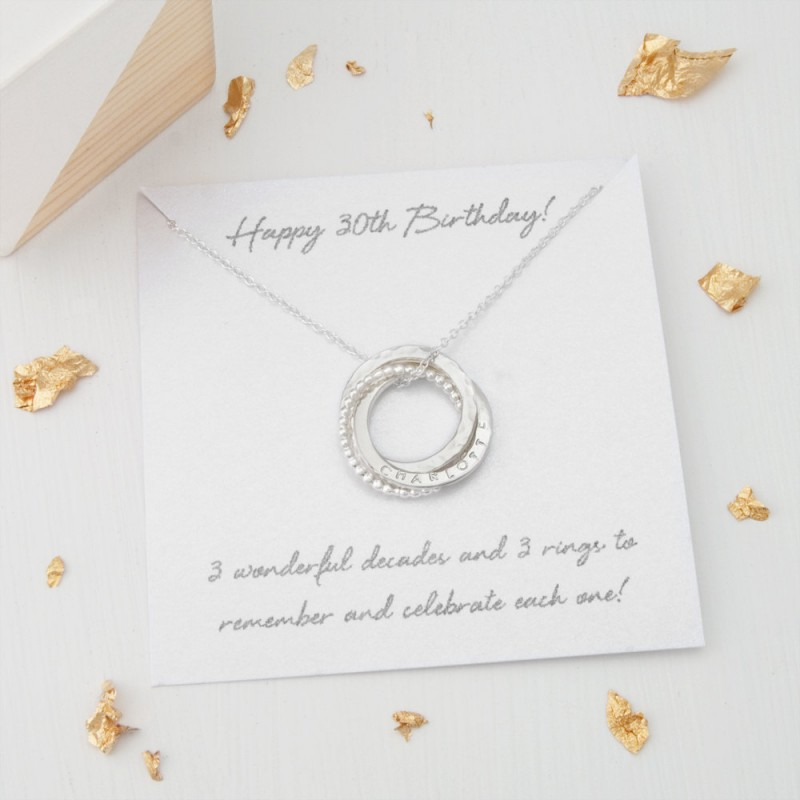 Personalised 30th Birthday Gift 30th Birthday Gift For Her Personalized 30th Birthday Necklace 3 Rings For 3 Decades Russian Necklace