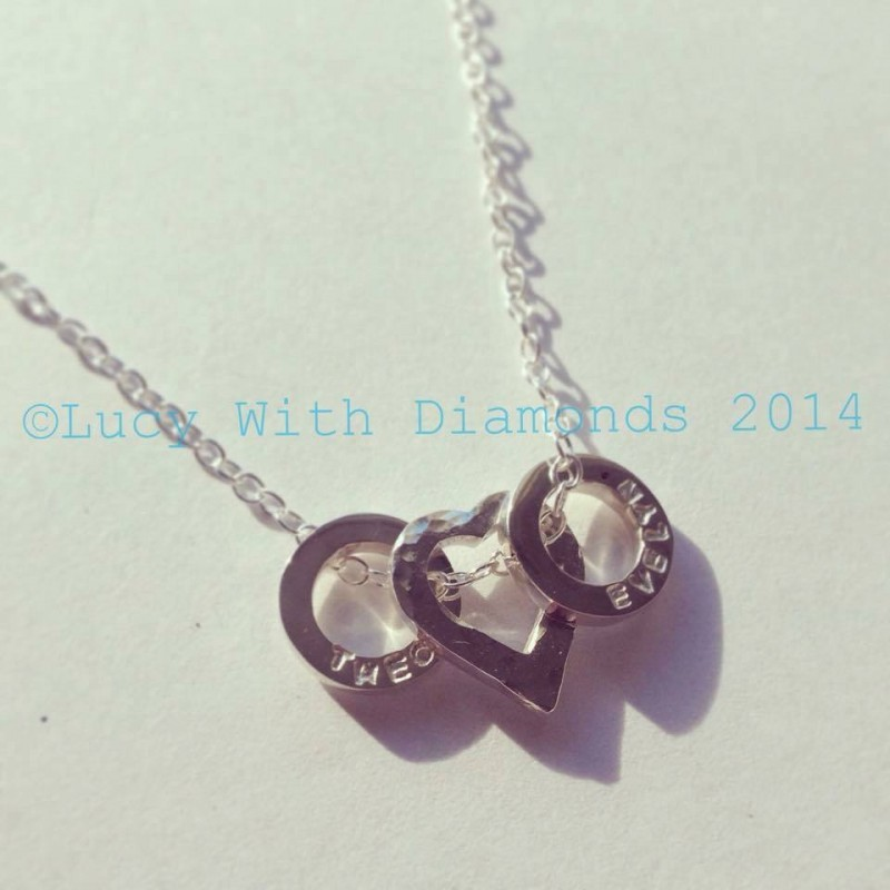 ed1fd8328 Personalised necklace heart necklace with personalised loops children's  names dates