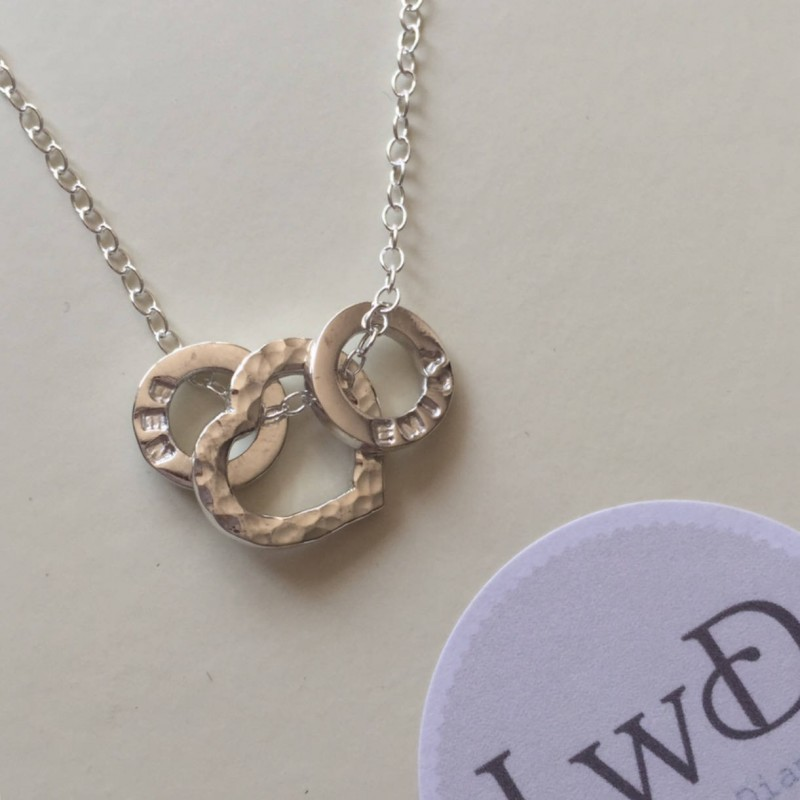 65d18ad39 Personalised necklace heart necklace with personalised loops children's  names dates