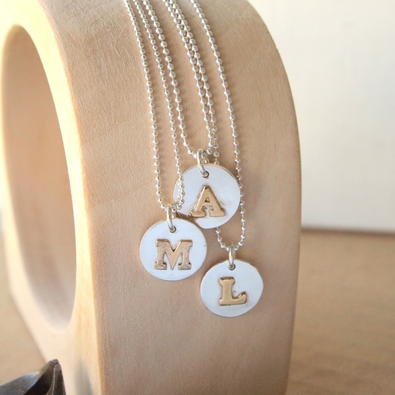cc102a8bd957 Silver Initial Necklace - Sterling Silver - Personalised letter pendant - Monogram  Pendant Necklace - Silver Name Necklace - Alphabet Charms