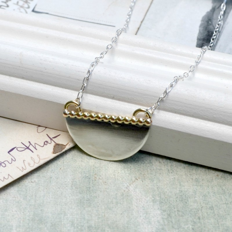 Personalised necklace monogram. Silver and gold filled hoop necklace Handmade mixed metal necklace