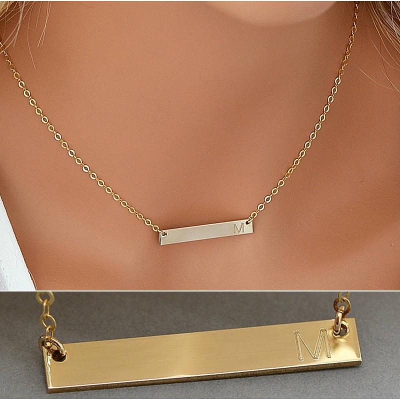 Rose Gold Bar Charm Necklace Engraved Name Necklace Engraved Bar Necklace Customized Mini Sparkle Bar Necklace Nameplate