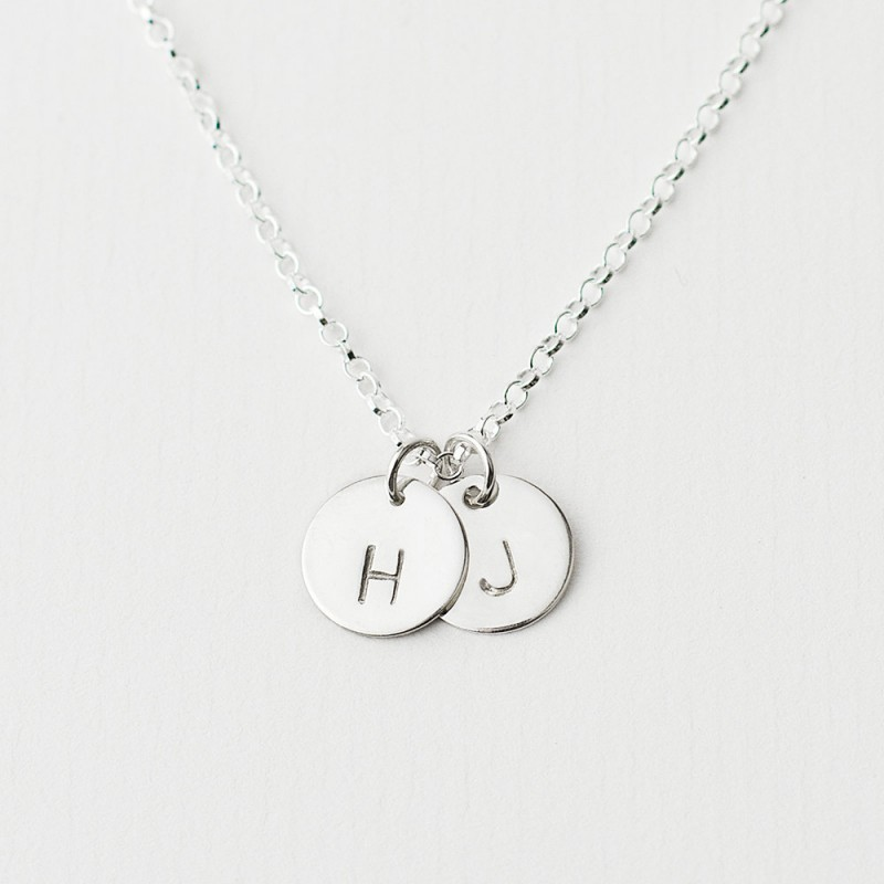 02df2538a026f Sterling silver double initial necklace - personalised initial ...
