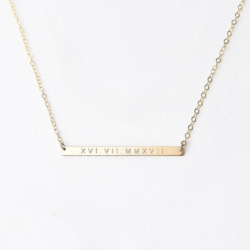 01ab9431e Wedding date bar necklace - mr and mrs necklace - roman numeral necklace -  personalised bridal necklace - gold fill ...