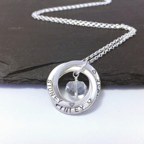 Personalised 3 Ring Name Necklace April Birthstone