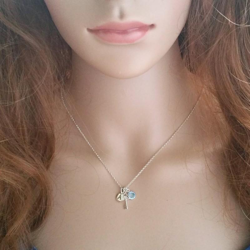 18th Birthday Necklace Sterling Silver Custom Birthstone: Sterling Key 16th,18th Or 21st Birthday Necklace.Sterling