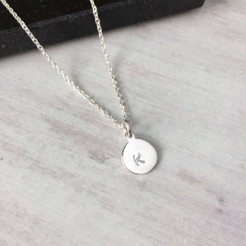 sterling silver initial disc necklace personalised letter. Black Bedroom Furniture Sets. Home Design Ideas