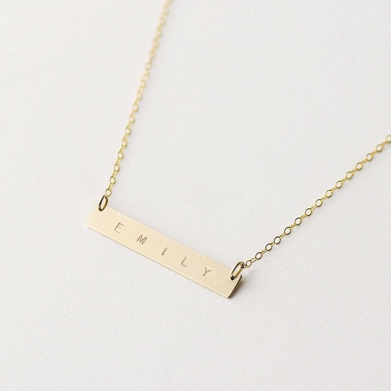 wish 18k gold filled horizontal bar necklace minimal. Black Bedroom Furniture Sets. Home Design Ideas
