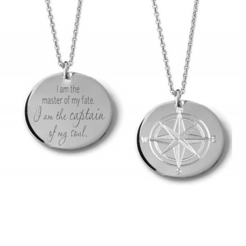 eaf697d19 Compass Rose custom engraved reversible layering pendant necklace in  sterling silver • Personalized inspirational quote traveler charm