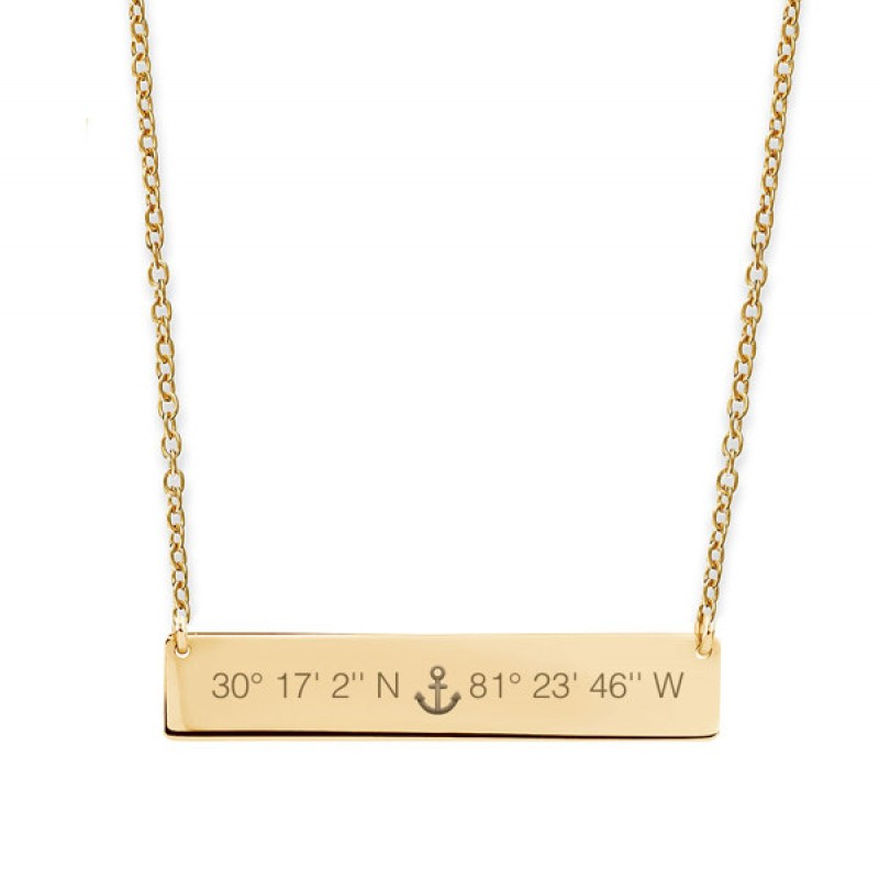 40d984c98020ea Custom engraved Compass coordinate horizontal nameplate necklace •  Engagement, Wedding or honeymoon location • 14k yellow gold fill