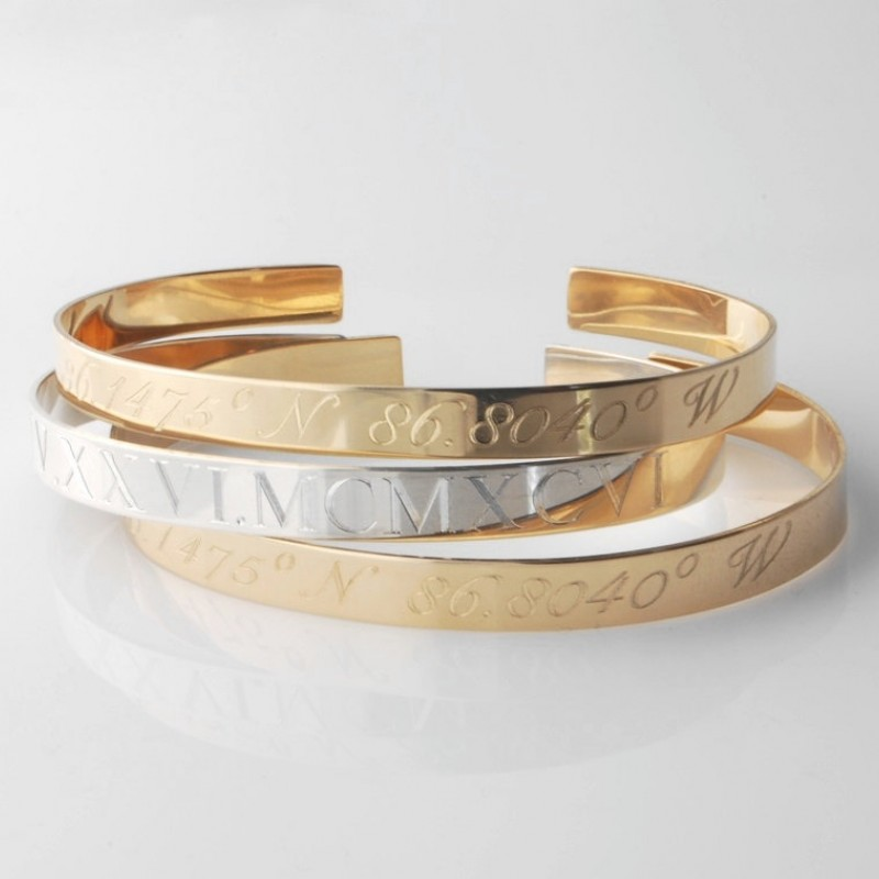 fcc785297f1 GPS Compass Coordinate Custom Cuff Bracelet • sterling silver, yellow or rose  gold fill personalized engraved • dates in Roman numerals