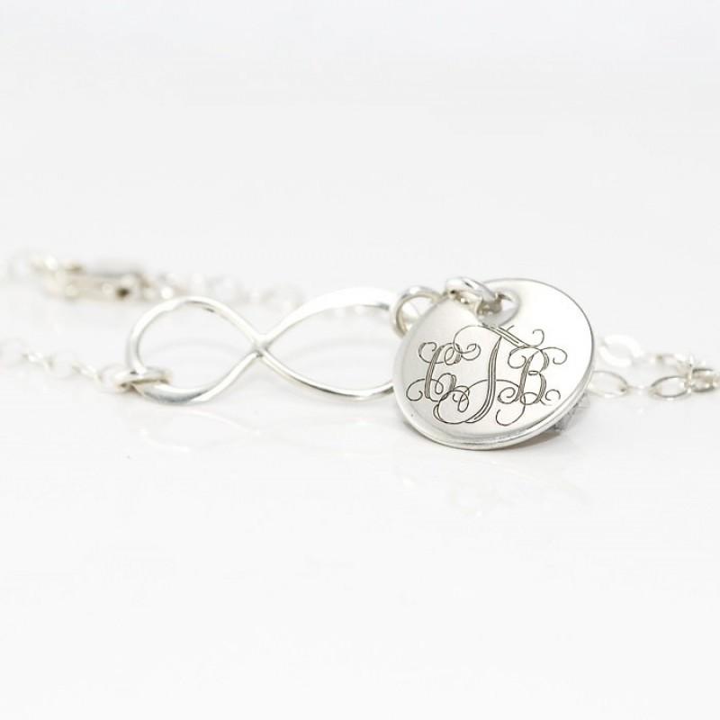 cef246a59665b Monogram infinity charm Bracelet in sterling silver | Monogrammed ...