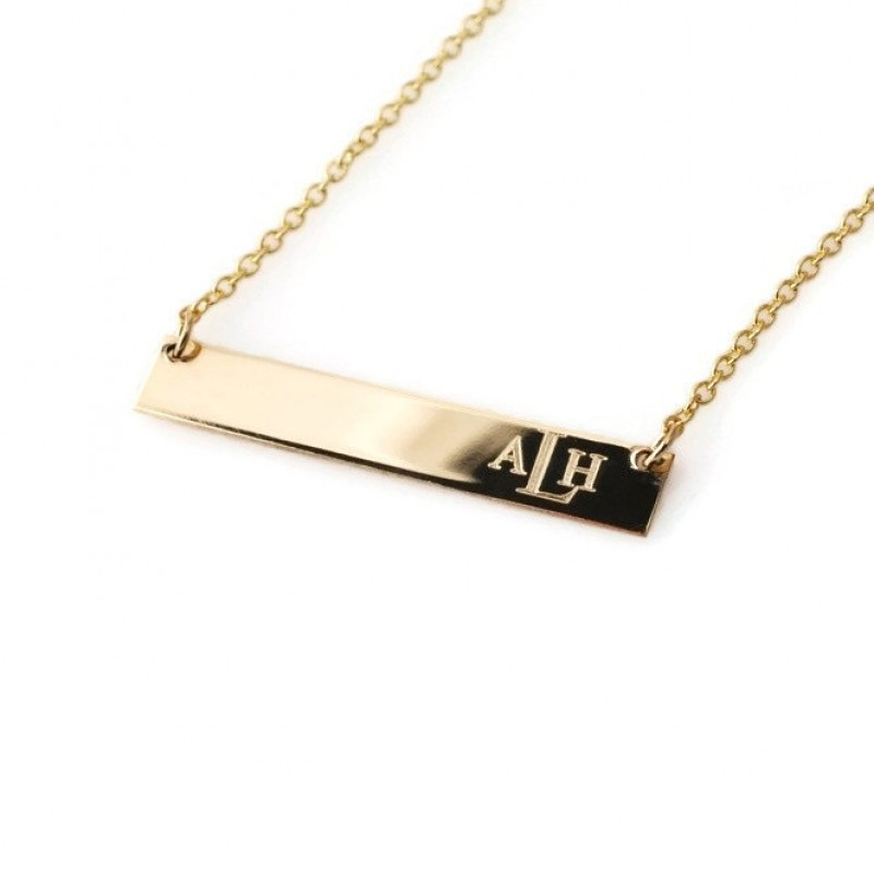 d25b9386dc5e84 Monogram necklace • Horizontal engraved bar nameplate personalized with  monogrammed initials in all 14k GOLD filled • Mother's day gifts