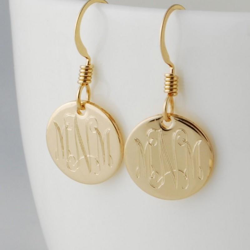 monogrammed gold fill initial charm dangle drop earrings