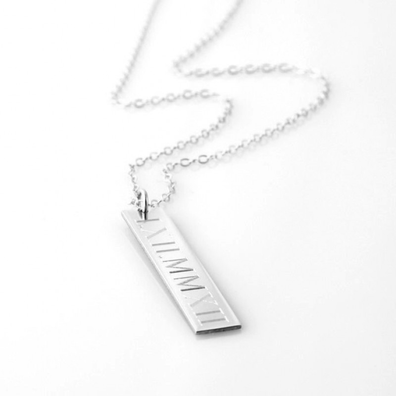 Unisex Vertical Bar Pendant Necklace In Sterling Silver