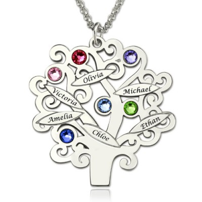 Engraved Family Tree Necklace with Birthstones Sterling Silver  - All Birthstone™
