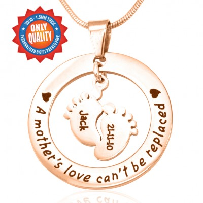 Personalised Cant Be Replaced Necklace - Single Feet 18mm - 18ct Rose Gold - All Birthstone™