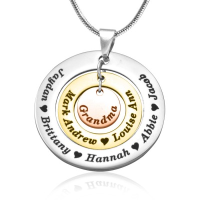 Personalised Circles of Love Necklace - Three Tone - Rose Gold Silver - All Birthstone™