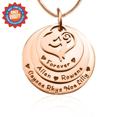 Personalised Mother's Disc Triple Necklace - 18ct Rose Gold Plated - All Birthstone™