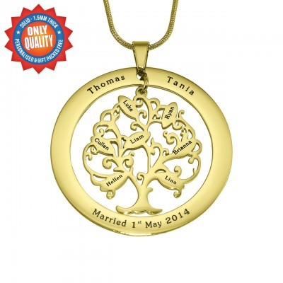 Personalised Tree of My Life Washer 8 - 18ct Gold Plated - All Birthstone™