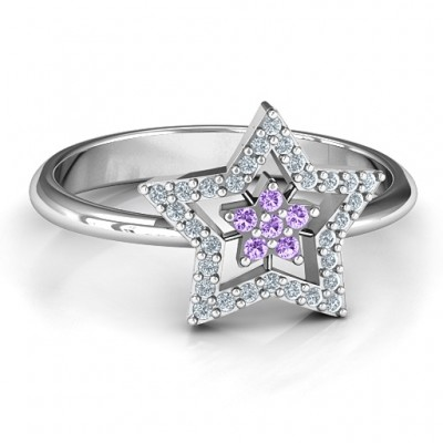 Floating Star with Halo Ring - All Birthstone™