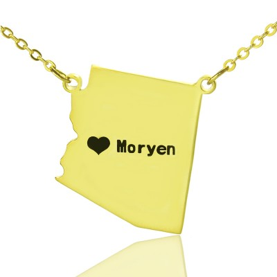 Custom Arizona State Shaped Necklaces With Heart  Name Gold Plated - All Birthstone™