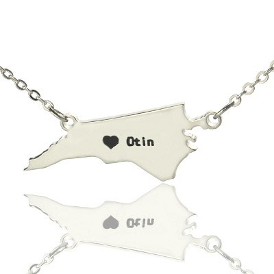 Personalised NC State USA Map Necklace With Heart  Name Silver - All Birthstone™