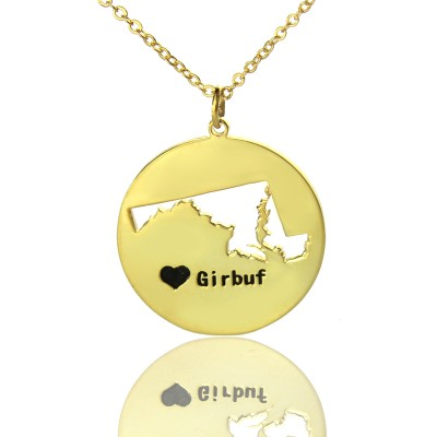 Custom Maryland Disc State Necklaces With Heart  Name Gold Plated - All Birthstone™