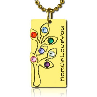 Mothers Birthstone Family Tree Necklace Sterling Silver  - All Birthstone™