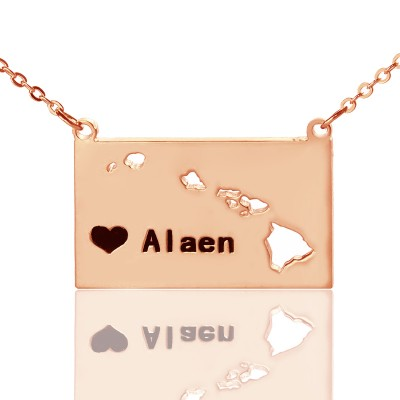 Custom Hawaii State Shaped Necklaces With Heart  Name Rose Gold - All Birthstone™