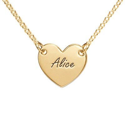 18ct Gold Plated Heart Necklace with Engraving - All Birthstone™