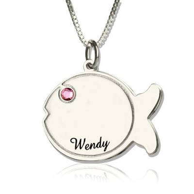 Fish Necklace Engraved Name Sterling Silver - All Birthstone™