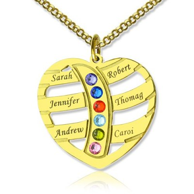 Mothers Necklace With Children Names  Birthstones 18ct Gold Plated  - All Birthstone™