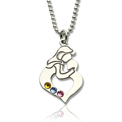 Personalised Mother Child Necklace with Birthstone Silver  - All Birthstone™