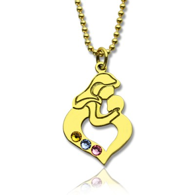 Personalised Mother Child Necklace with Birthstone Gold Plated Silver  - All Birthstone™