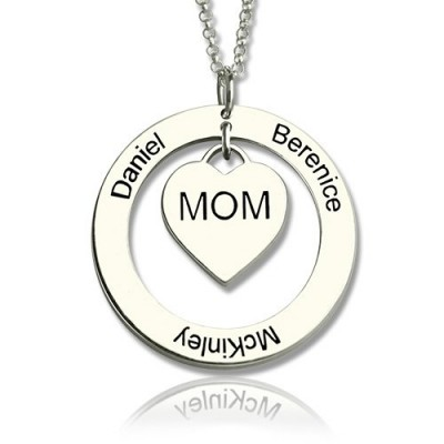 Family Names Necklace For Mom Sterling Silver - All Birthstone™